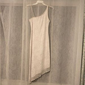 Asymmetrical White and Silver My Michell Dress